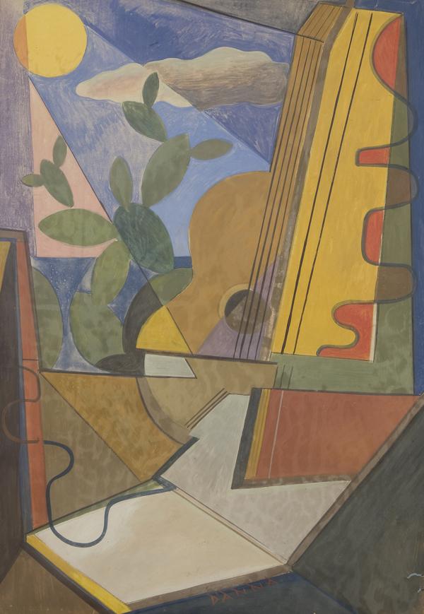 Natura morta con chitarra e fichi d'india, (1933)