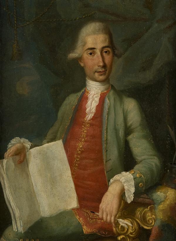 Ritratto di gentiluomo seduto, a tre quarti di figura, con marsina verde e libro aperto in mano