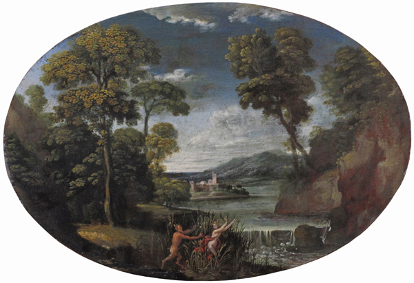 Pan e Siringa entro un paesaggio fluviale