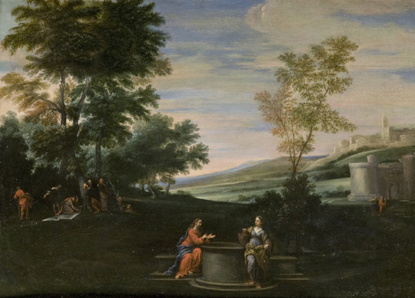 Cristo e la Samaritana al pozzo entro un paesaggio