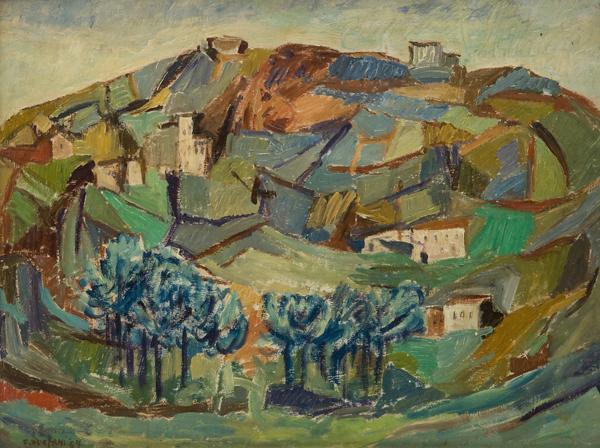 Paesaggio collinare con case, 1957