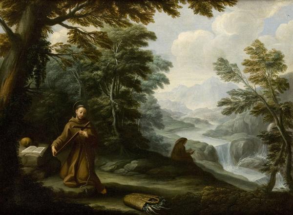 San Francesco d'Assisi in meditazione entro un paesaggio