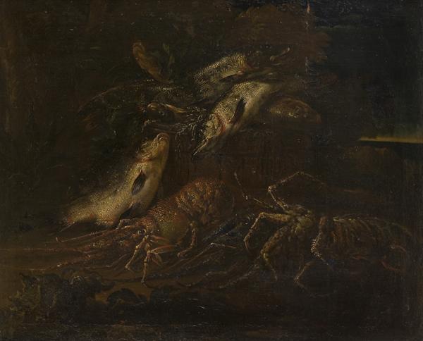 Trionfo di pescato con lucci, carpe e astici en plein air