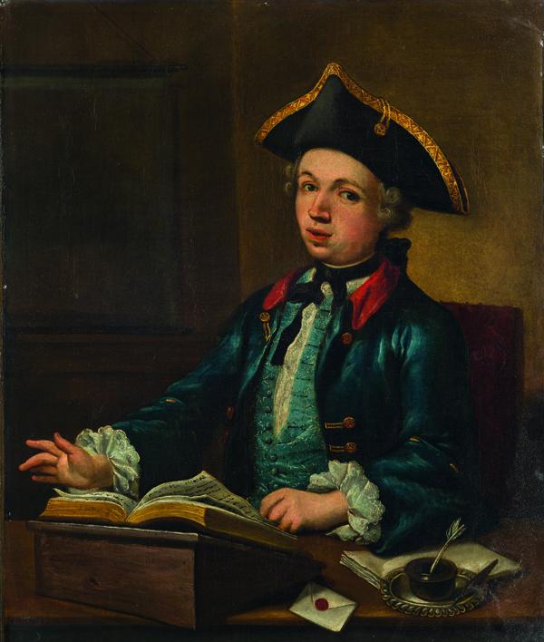 Ritratto di giovane in abiti eleganti presso uno scrittoio