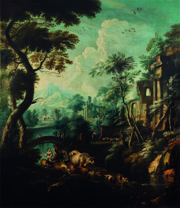 Paesaggio boschivo con viandanti e rovine classiche in lontananza