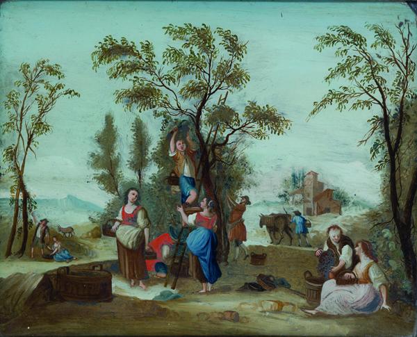 Allegoria dell'Autunno con scena di vendemmia; e Allegoria dell'Estate con la tosatura del gregge (con difetti)