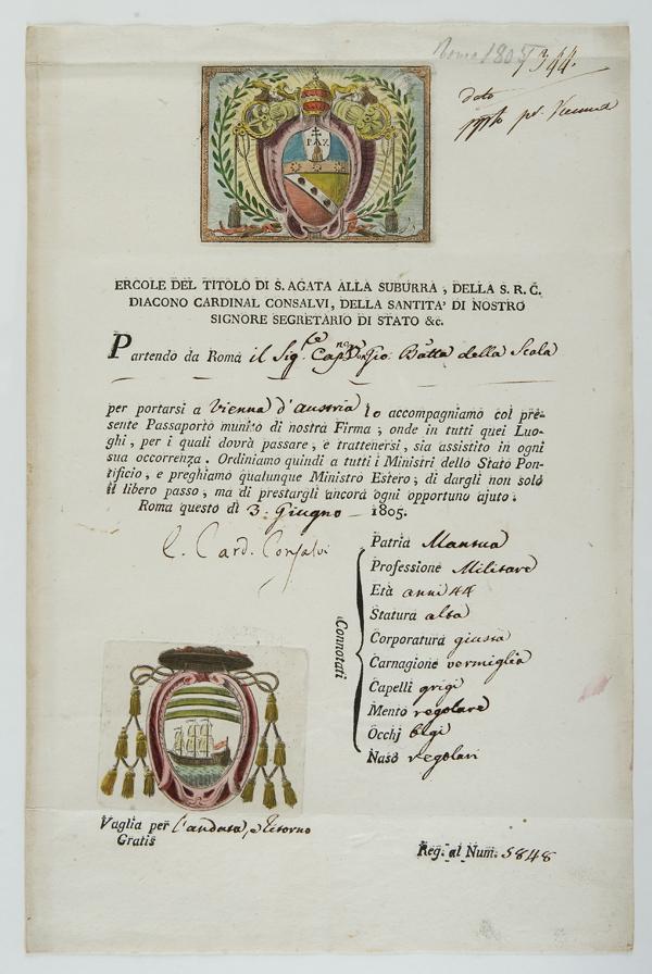 Lettera sottoscritta e Passaporto decorato