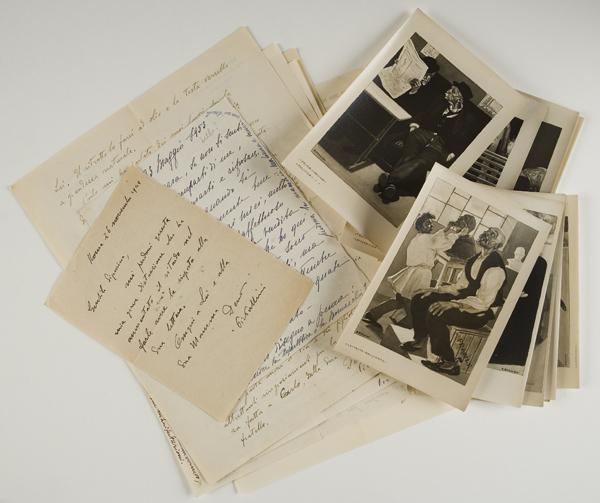 Lettere autografe firmate e foto di opere