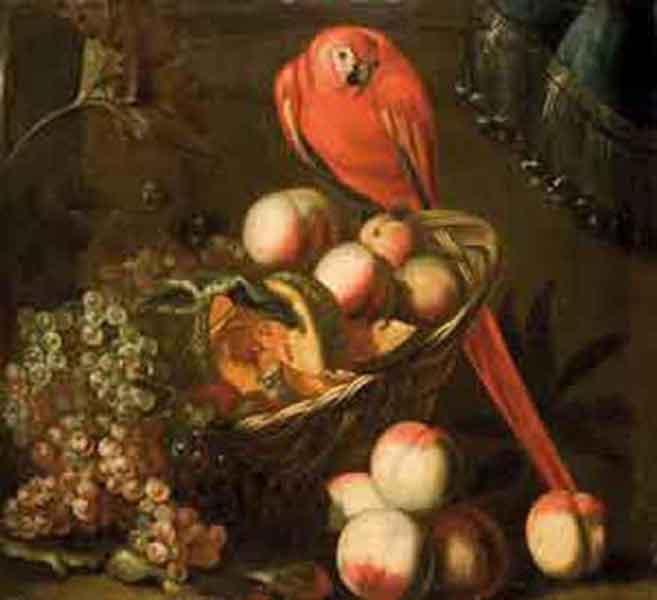 Uva, pesche, una zucca e un pappagallo