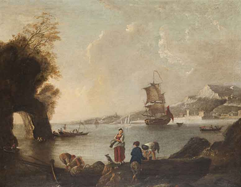 Marina con pescatori in riva