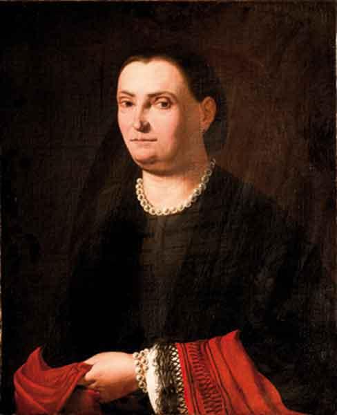 Ritratto di donna, a tre quarti di figura, in abito nero con scialle rosso