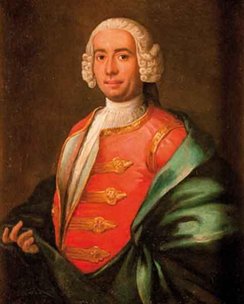 Ritratto di gentiluomo, a tre quarti di figura, in marsina rossa