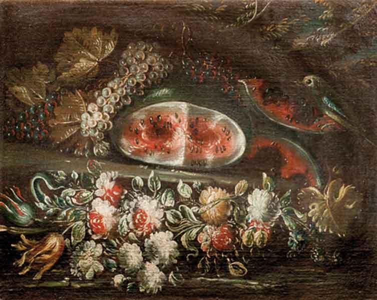Anguria, uve bianche e nere, fiori e un uccellino en plein air