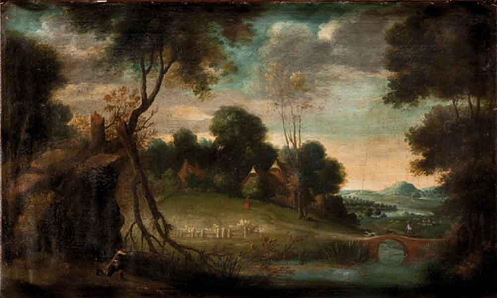 Paesaggio fluviale con scena di caccia