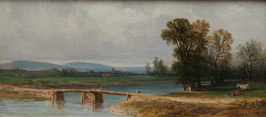Paesaggio di campagna con ponte su un fiume dipinti for Foto di ponti su case
