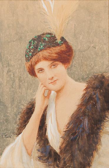 Giovane signora con cappello e collo di pelliccia
