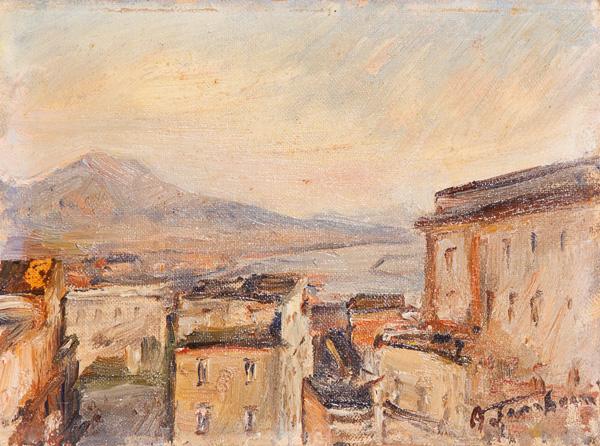 Scorcio di Napoli con il Vesuvio sullo sfondo