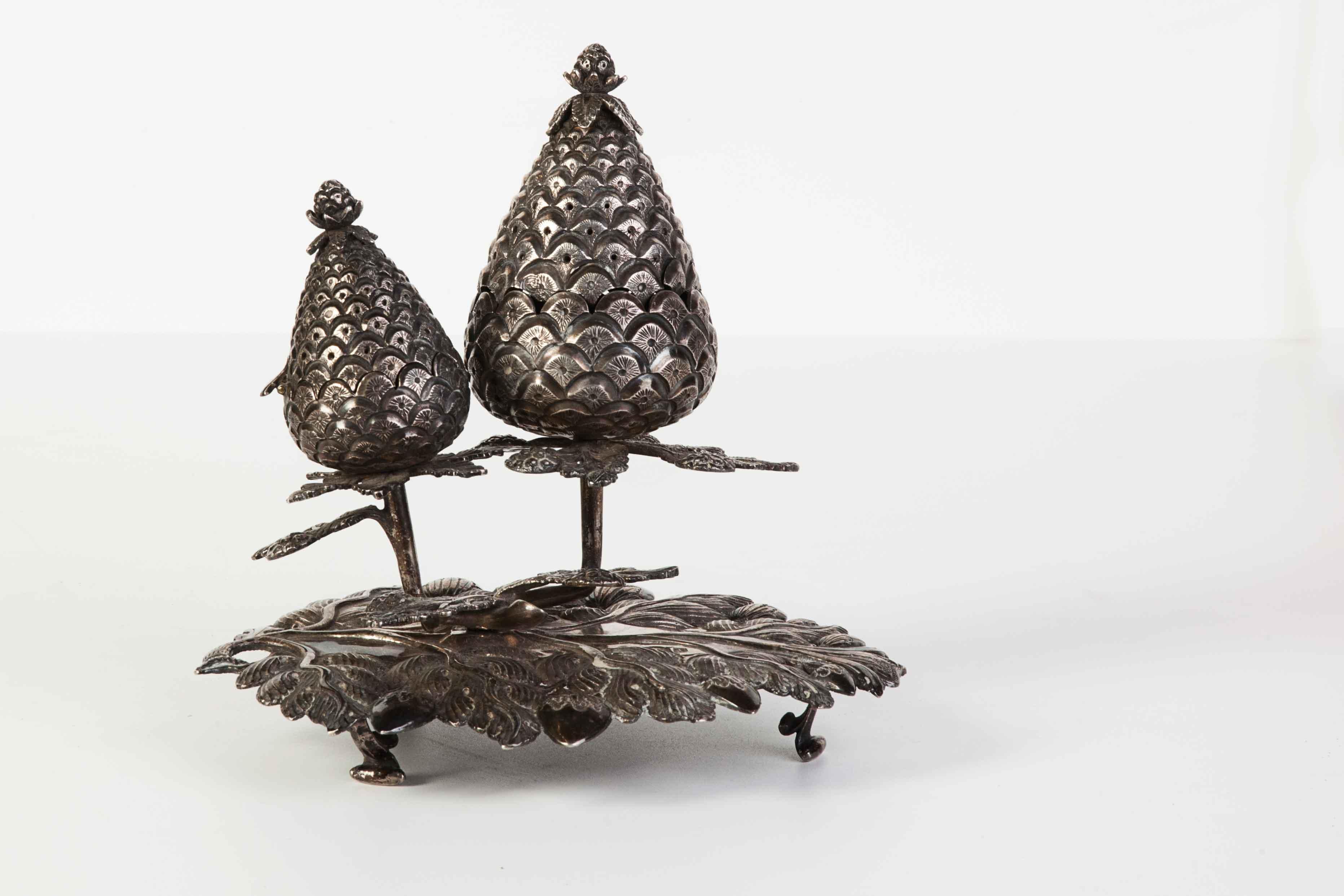 Doppio calamaio ottomano da tavolo in argento