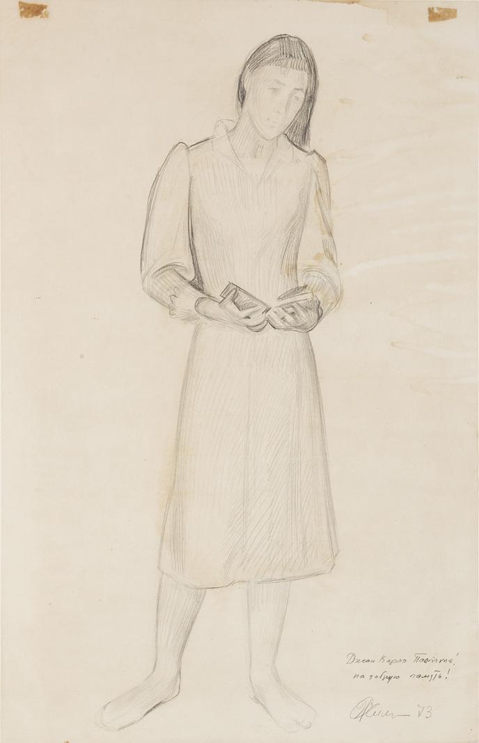 Figura femminile con libro, 1973