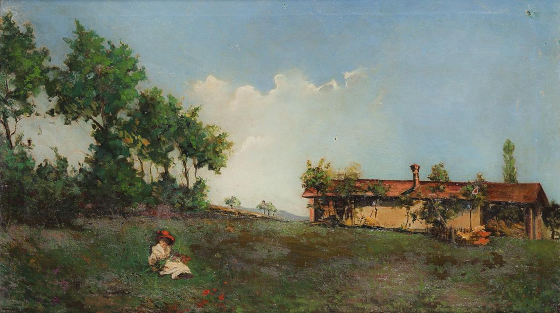 Casolare in campagna con fanciulla sul prato