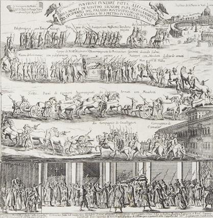 Funzione funebre fatta ali 2. Febraro 1691 nela morte di Nostro Signore Papa Alessandro VIII trasportato dal palazzo pontificio del Quirinale alla Basilica di S. Pietro in Vaticano
