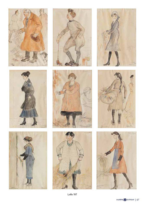 Serie di quindici caricature con soggetti vari a tecnica mista su cartoncini