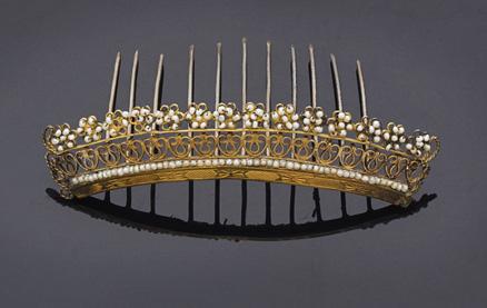 Diadema in oro basso e parti in metallo