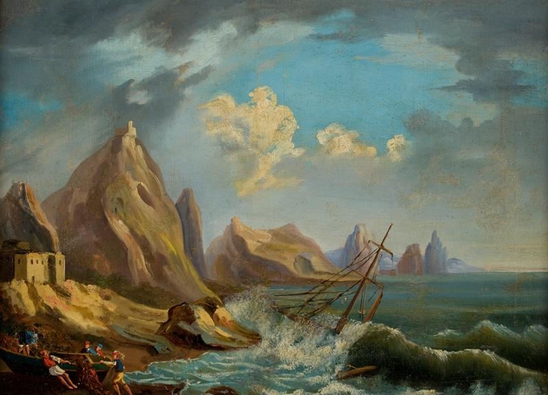 Capri, pescatori a riva con mare in burrasca