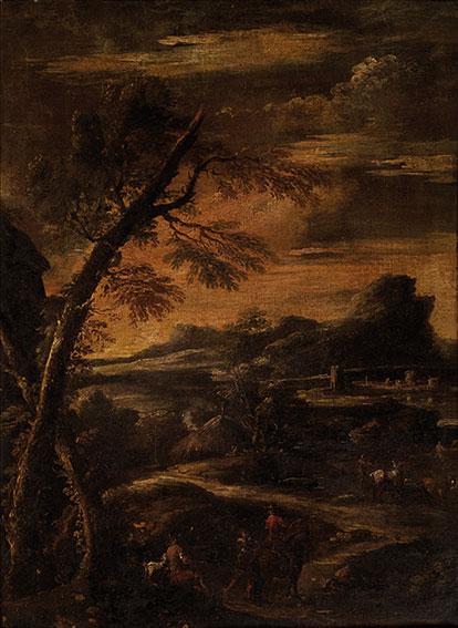 Paesaggio con albero e cavalieri in sosta