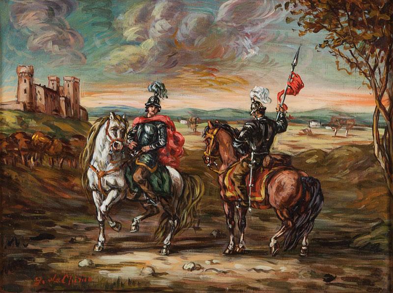 Due cavalieri in un paesaggio, 1957