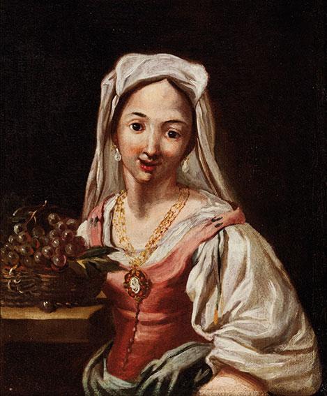 Bambina che suona il tamburello; e Giovane donna con cesto di frutta