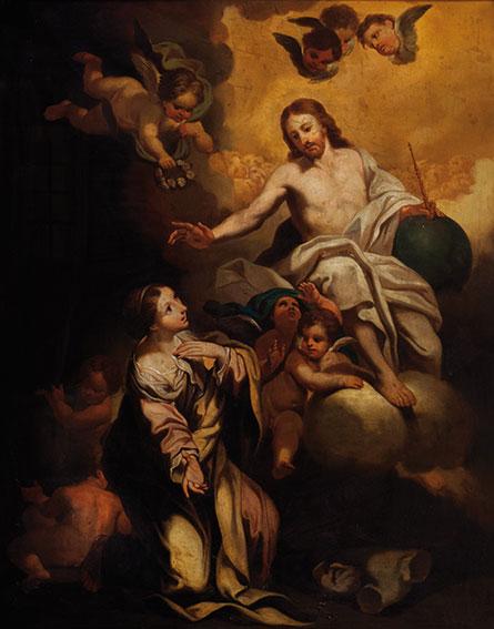 Cristo appare a una santa (Barbara?)