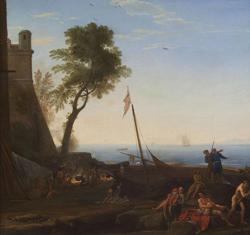 Paesaggio costiero con imbarcazioni e figure di pescatori