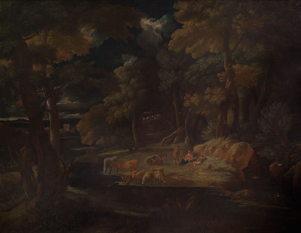 boschivo con corso d'acqua e pastori in sosta con armenti