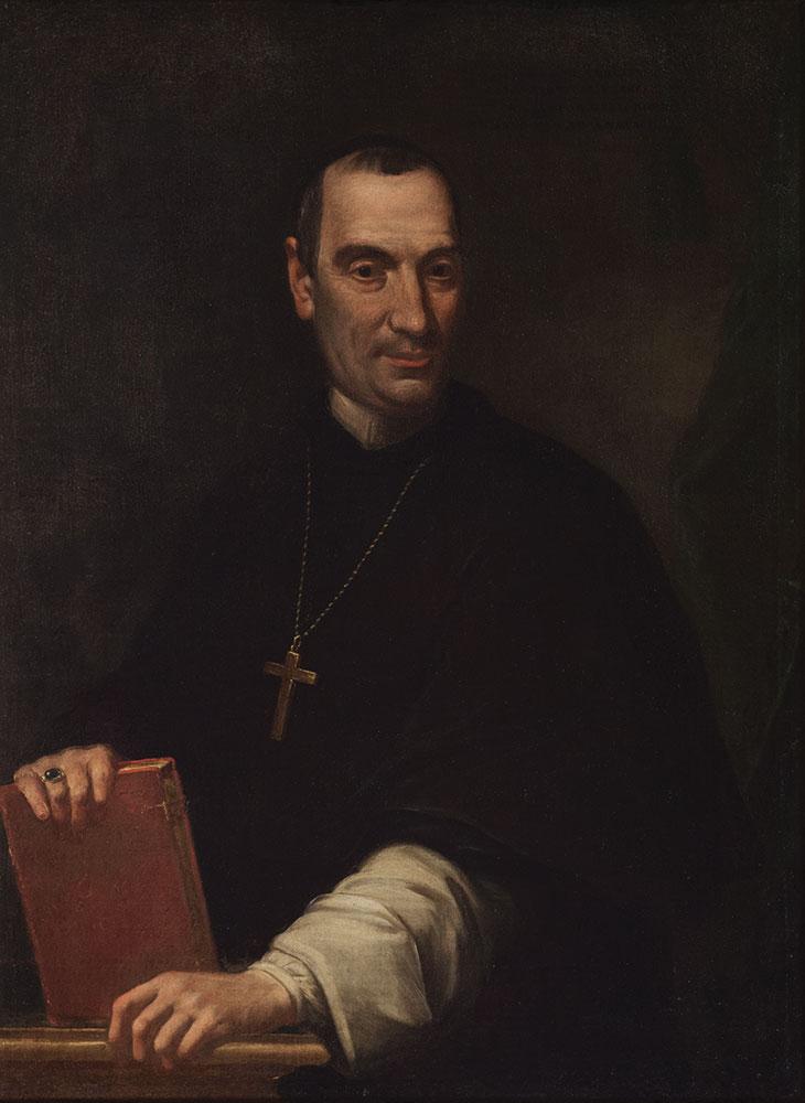 Ritratto di ecclesiastico, a tre quarti di figura, con libro in mano