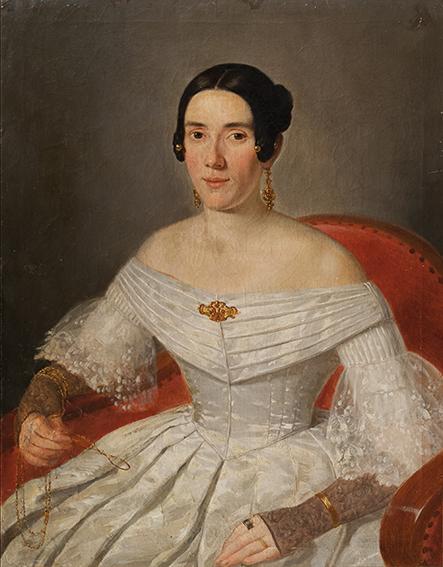 Ritratto di dama in abito di seta bianca, con lorniet da lettura in mano