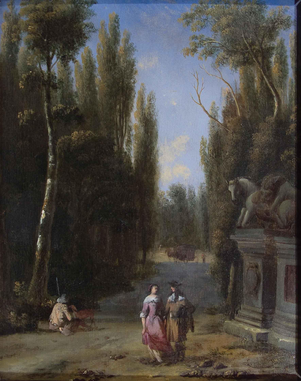 Viandanti in una Villa italiana con il gruppo scultoreo ellenistico del 'Leone che azzanna il cavallo'