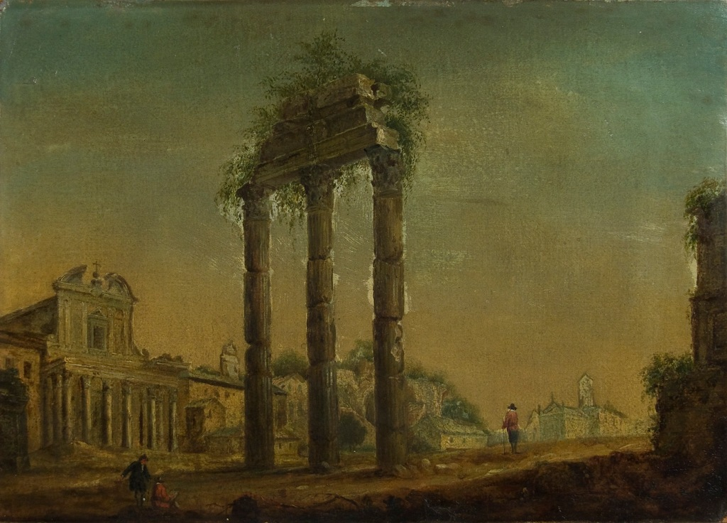 Veduta del Foro Romano con il Tempio dei Dioscuri, la Chiesa di San Lorenzo in Miranda sulla sinistra e sullo sfondo la chiesa di Santa Francesca Romana