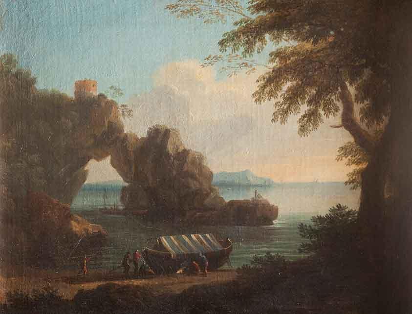 Paesaggio costiero con arco naturale e figure di pescatori