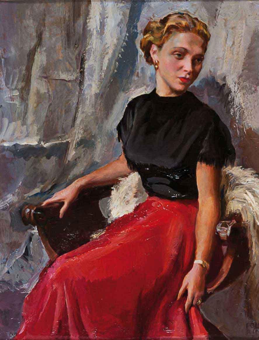 Giovane donna in un interno
