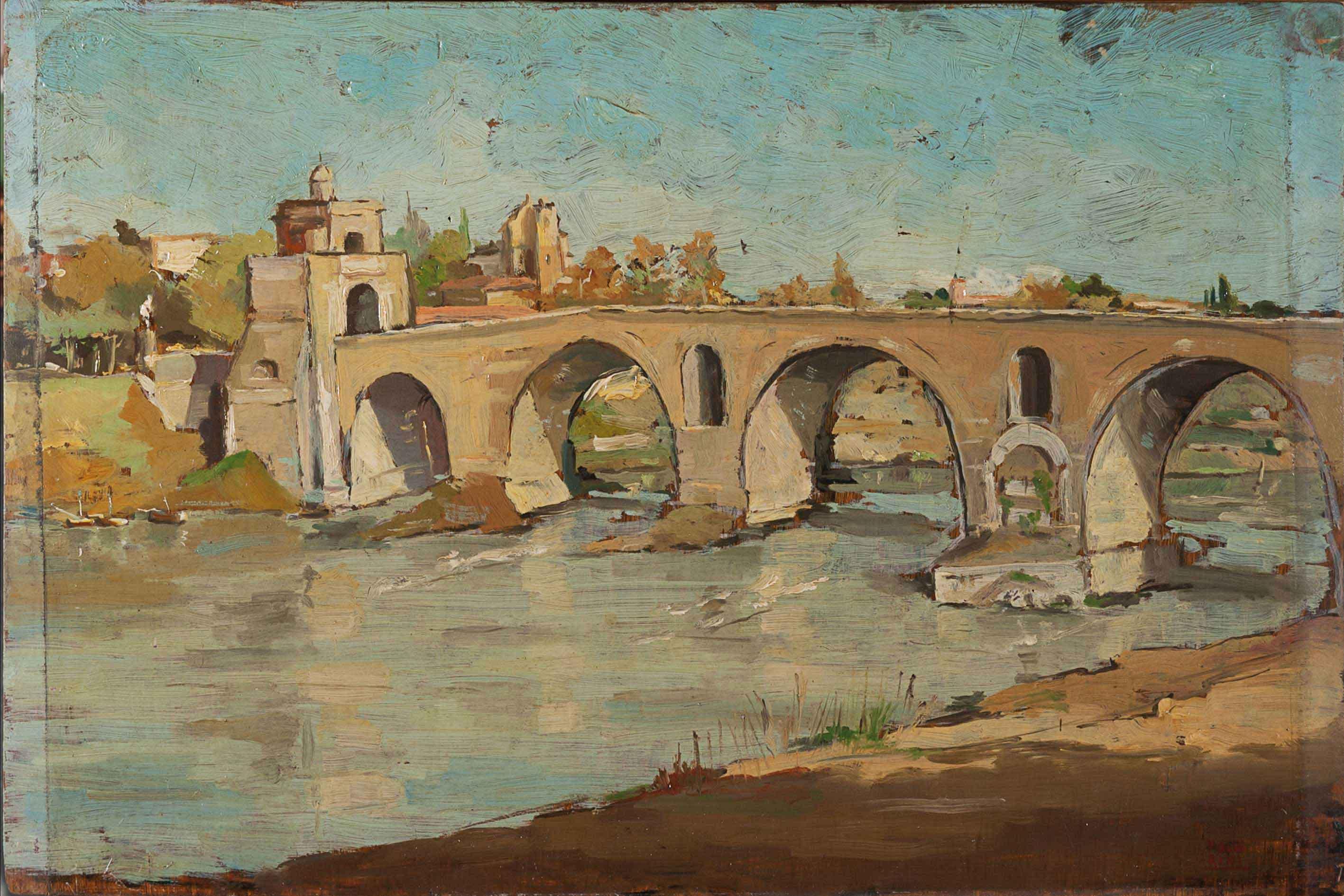 Roma veduta di ponte milvio 1945 dipinti antichi e for Ponte sopra i disegni del garage