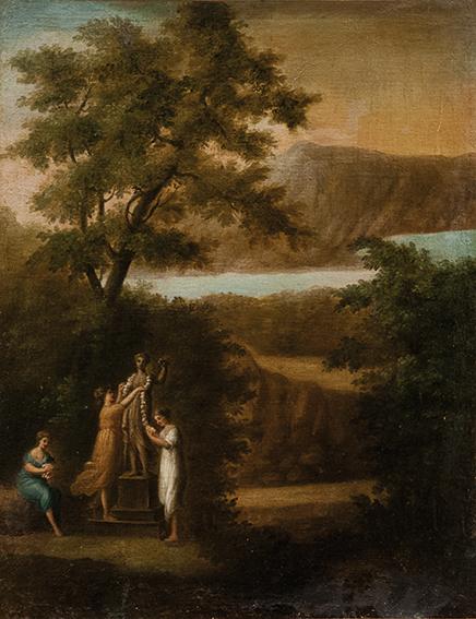 Paesaggio con figure che adornano una statua