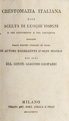 Crestomazia italiana, cioè scelta di luoghi insigni o per sentimento o per locuzione