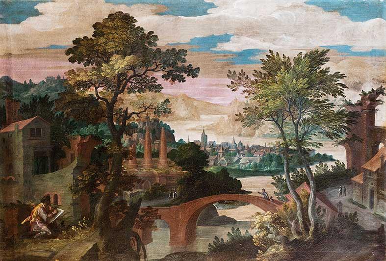 Paesaggio fluviale con ponte di pietra pittore in primo for Ponte del secondo piano