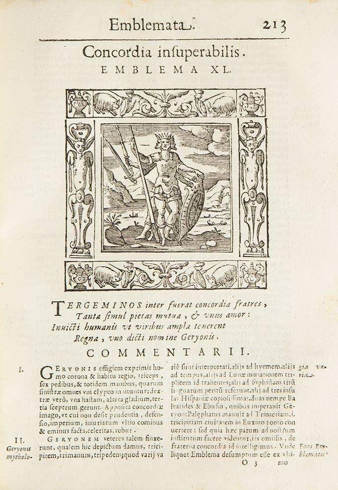 Emblemata cum commentarijs Claudij Minois i.c. Francisci Sanctij Brocensis, & notis Laurentij Pignorij Patavini