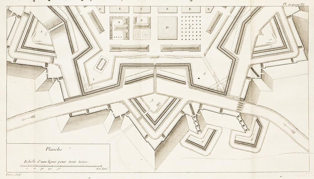 Les regles du dessein et du lavis, pour les plans particuliers des ouvrages et des batiments, et pour leur coupes, profils, elevation et facades, tant de l'architecture militaire que civile