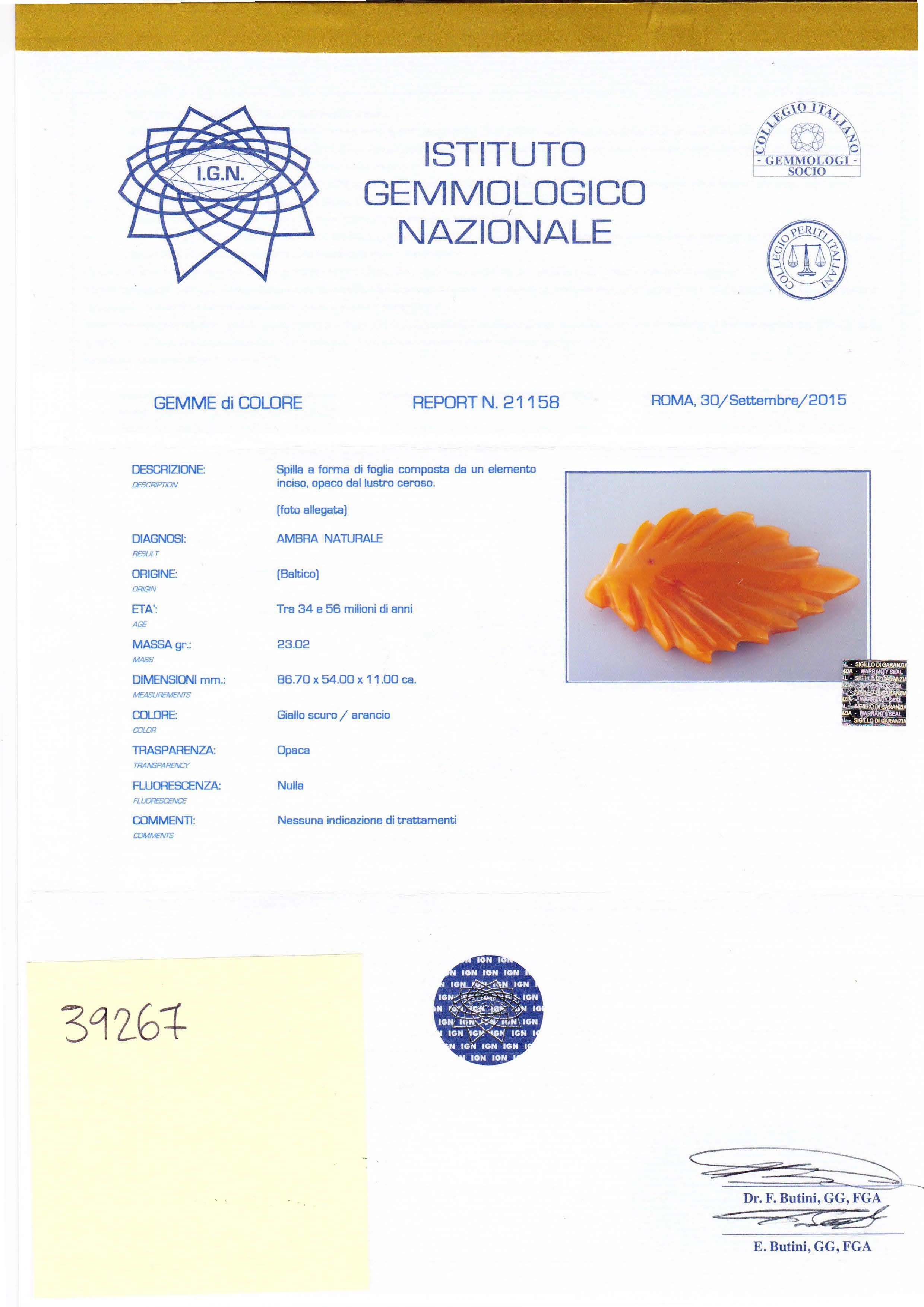 Spilla a forma di foglia in ambra naturale