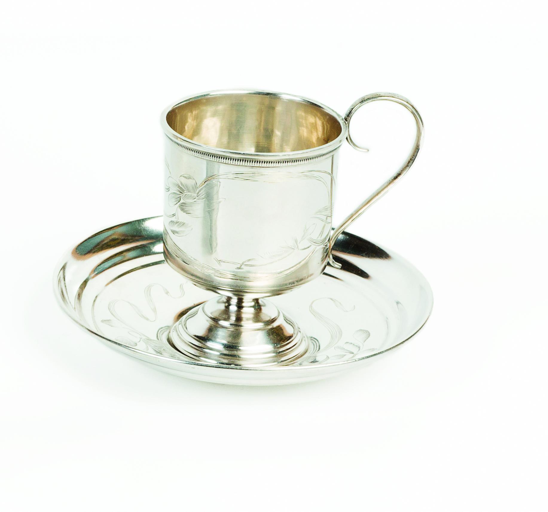 Tazzina e piattino in argento 840