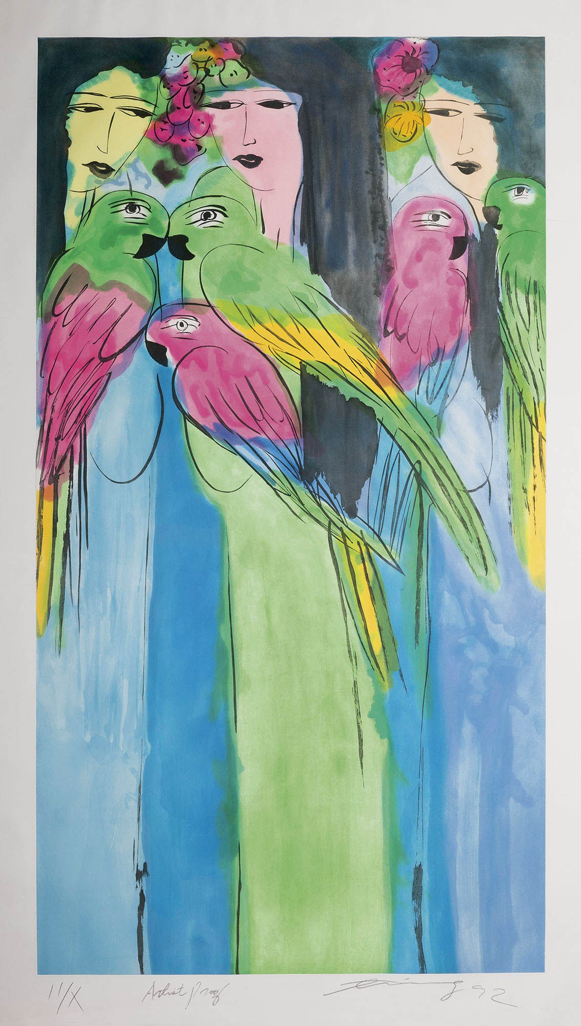 Senza titolo – donne con pappagalli, 1992