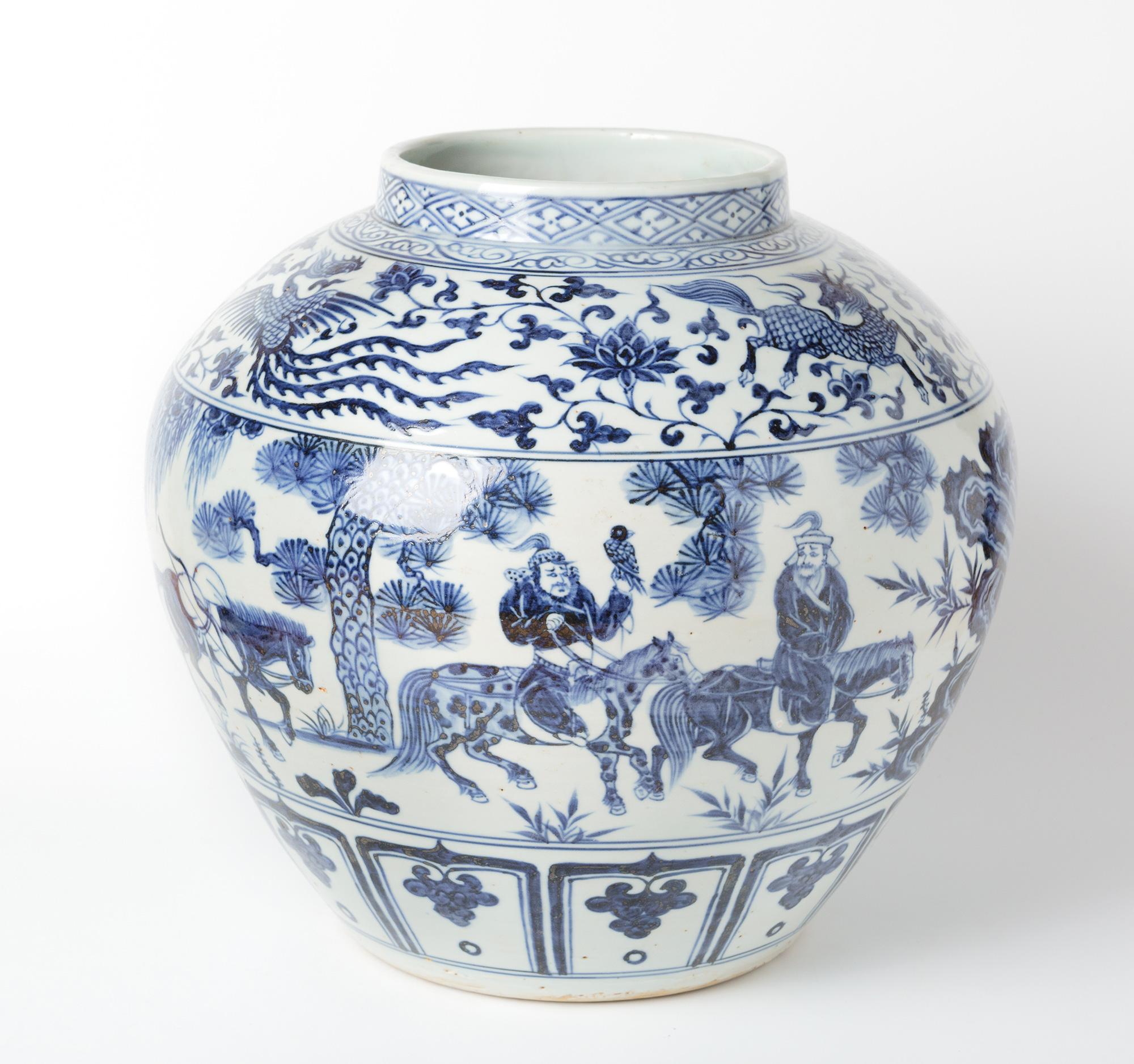 Antico vaso bianco e blu senza coperchio rappresentante for Vaso blu